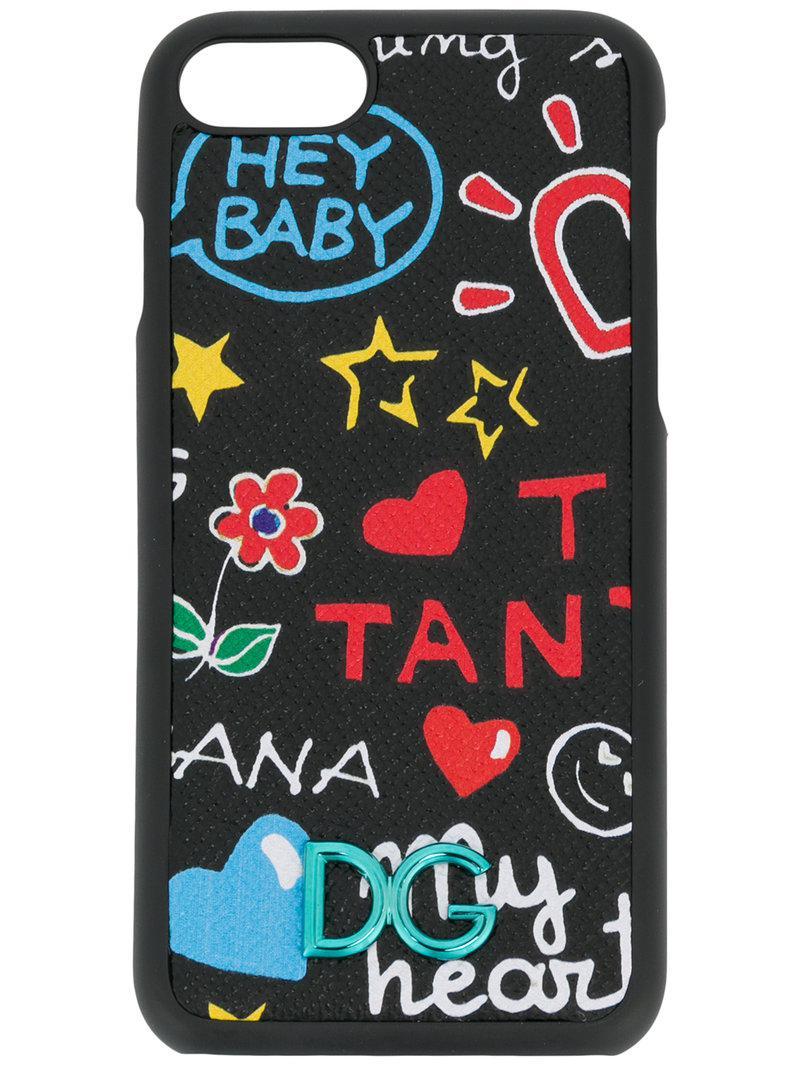 cf3a6bc04963 Dolce   Gabbana Graffiti Iphone 7 Case in Black - Lyst