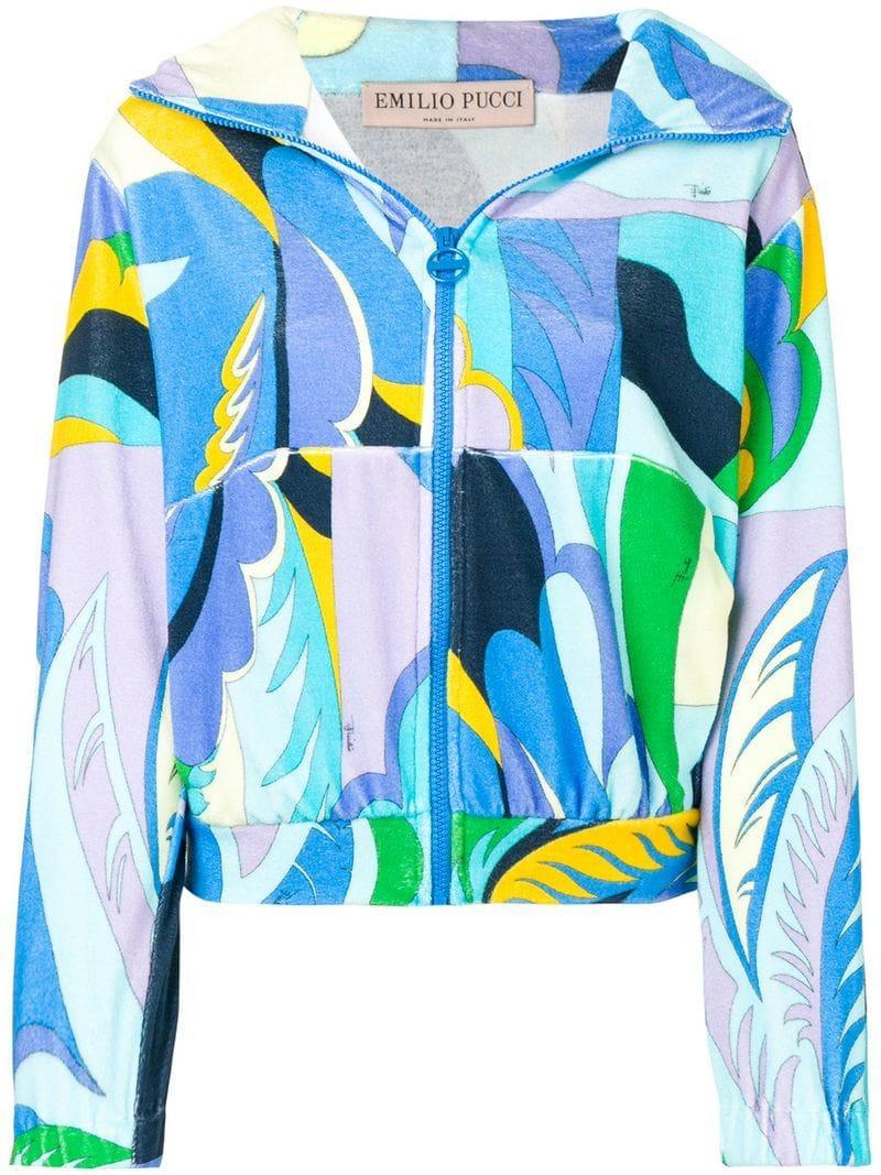 b944395b661b Emilio Pucci - Blue Acapulco Print Zipped Terrycloth Hoodie - Lyst. View  fullscreen