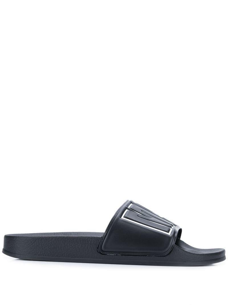 a90a6d3af72d3 Lyst - MSGM Logo Strap Slides in Black for Men
