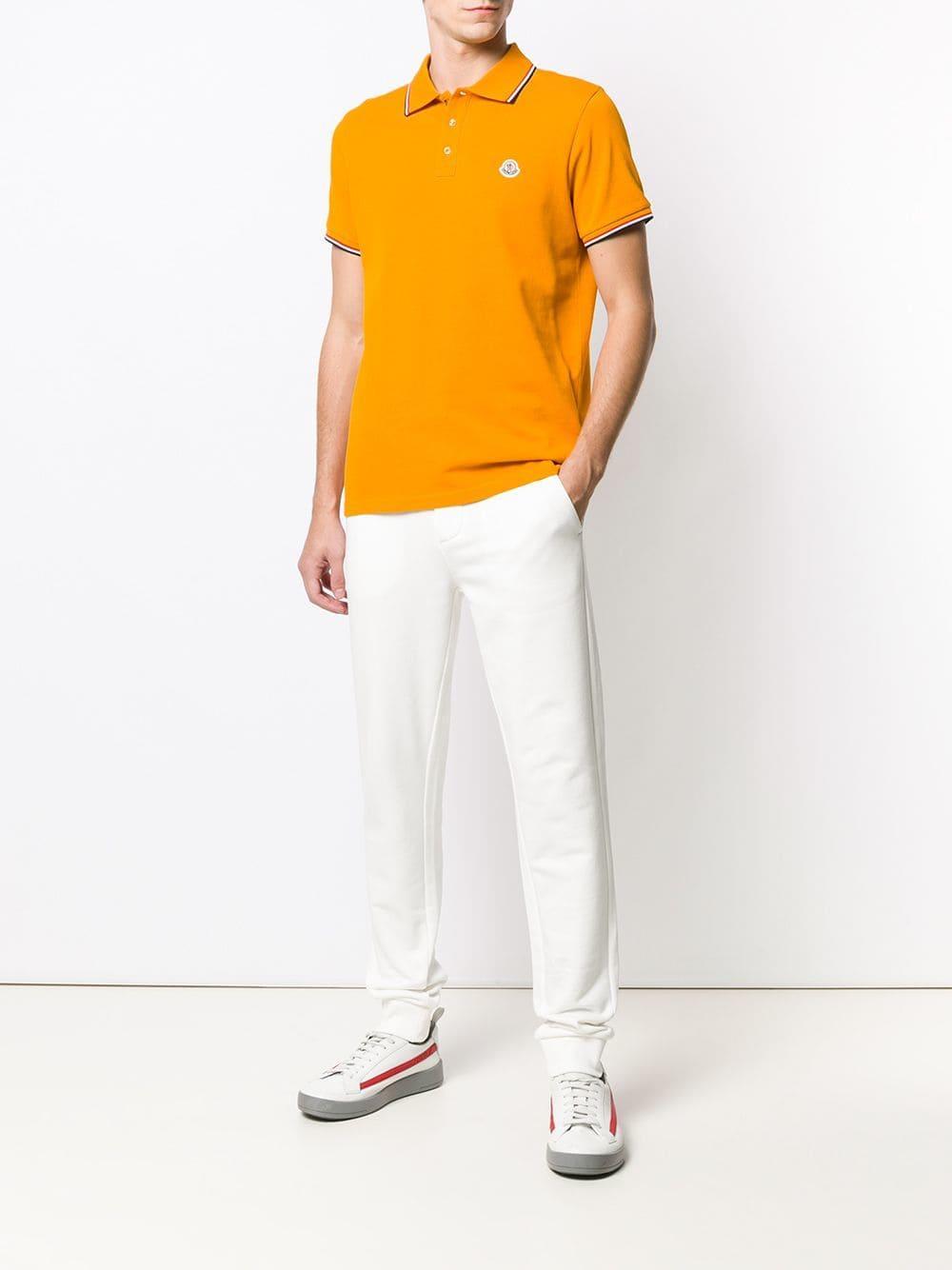 b5e20c7027438 Moncler Logo Polo Shirt in Orange for Men - Lyst