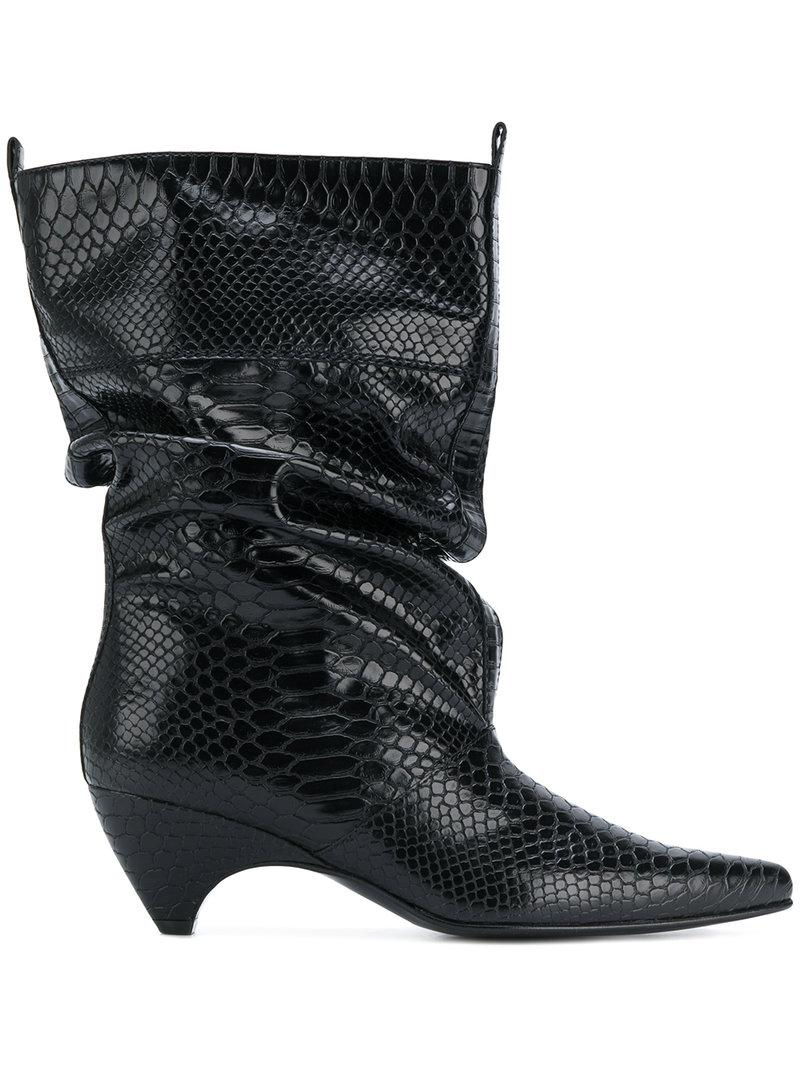885b55928a9 Stella McCartney Snake-effect Boots in Black - Lyst