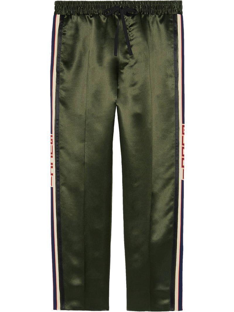 74dce8d413 Pantalones de chándal con rayas Gucci de hombre de color Verde - Lyst