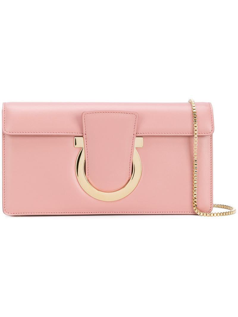 24235b8cf0e4 Ferragamo Gancio Clutch Bag in Pink - Lyst