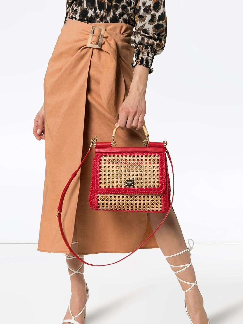 Dolce   Gabbana - Red Sicily Raffia And Leather Shoulder Bag - Lyst. View  fullscreen c1e1f9cbf1db1