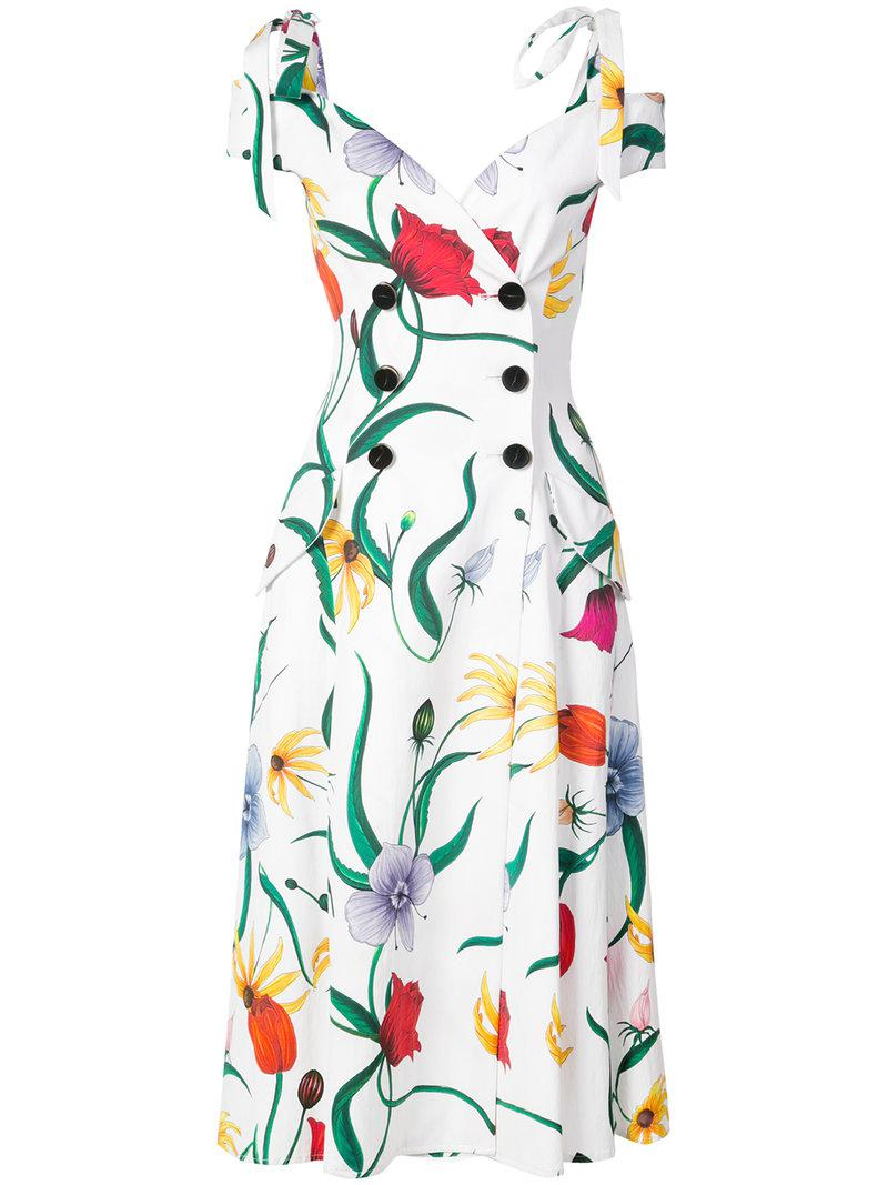 Cheap Wide Range Of Carolina Herrera double breasted floral dress Cheap Largest Supplier Outlet Best Prices R9cfmv3C