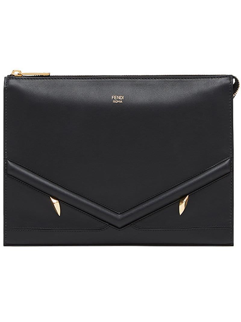 04bda933b07c Lyst - Fendi Zipped Appliqué Clutch Bag in Black for Men