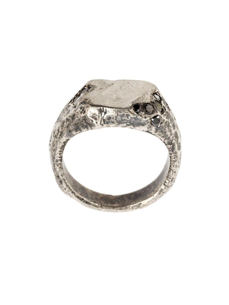 Tobias Wistisen inset jewel ring - Metallic Nj65O