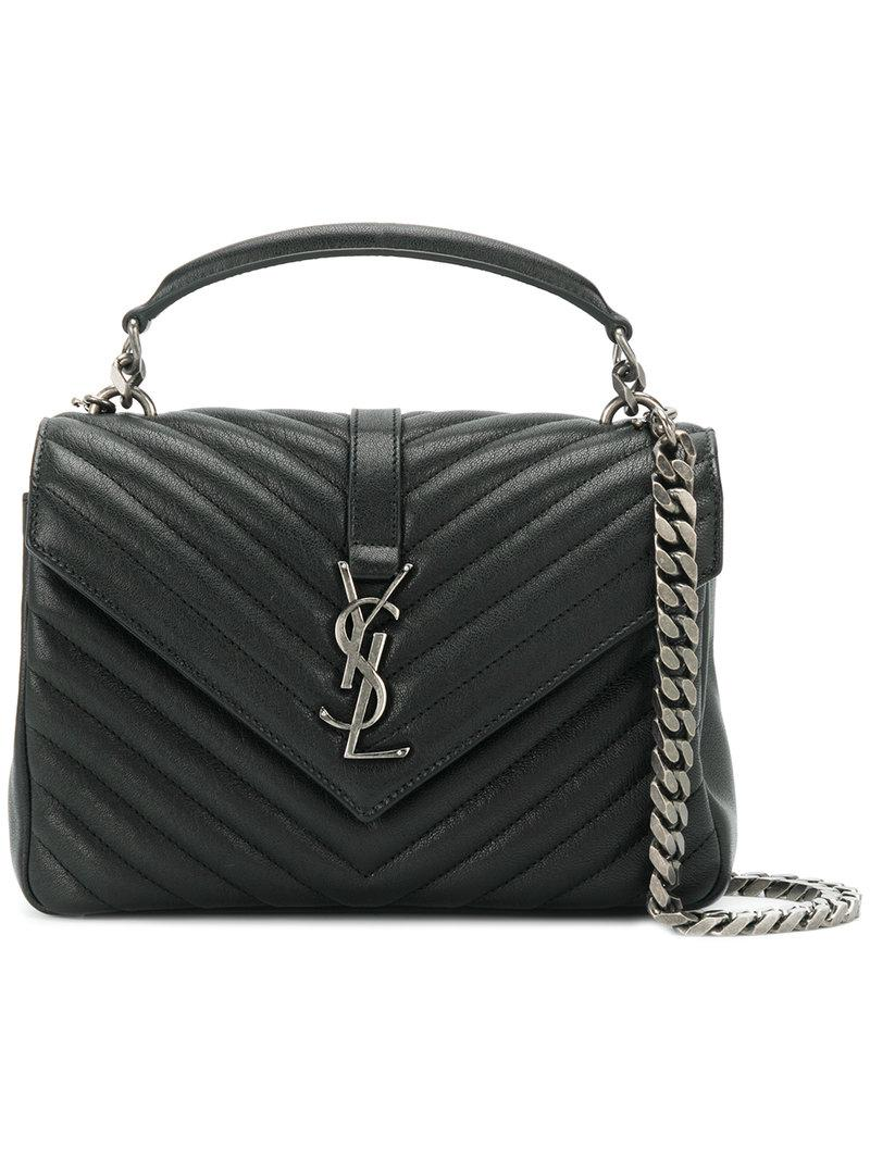 4511042b6a83 Lyst - Saint Laurent Black College Medium Leather Shoulder Bag in Black