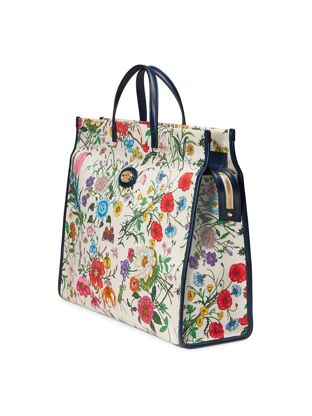 8a42e74d6242 Gucci - White Floral Print Tote - Lyst. View fullscreen