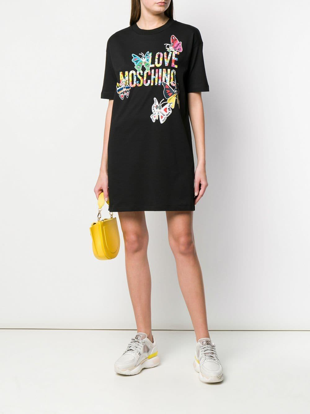 cf649554c7 Love Moschino - Black Butterfly Logo Shift Dress - Lyst. View fullscreen