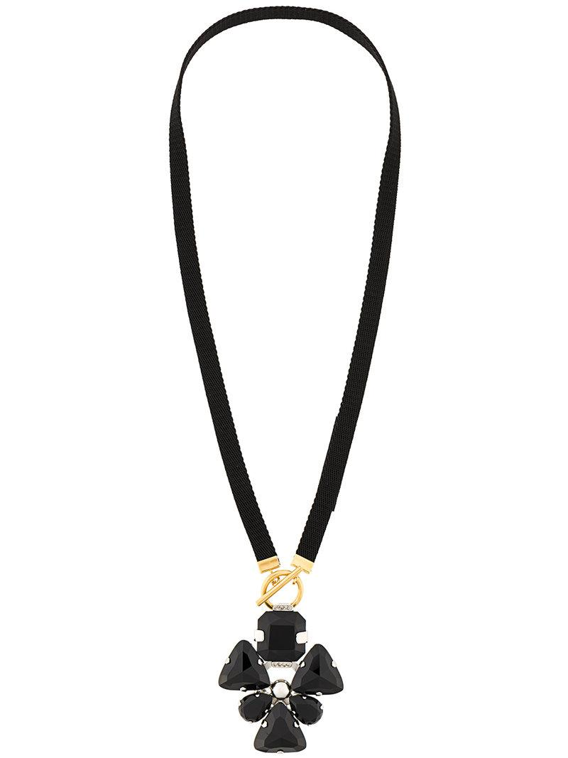 Marni leaf drop necklace - Black JsQn9