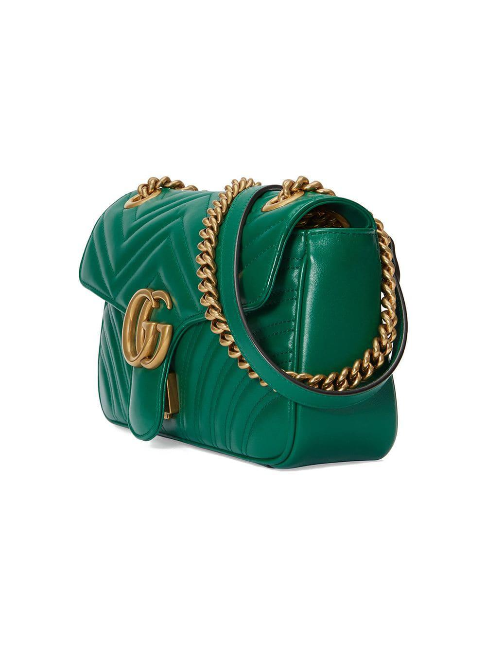 016d237c954c Gucci - Green GG Marmont Small Shoulder Bag - Lyst. View fullscreen