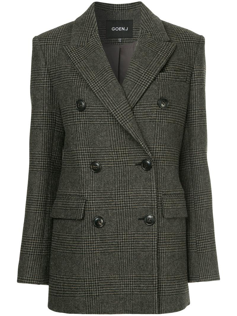 Discount Codes Shopping Online Discount Sale Goen.J checked double-breasted jacket Exclusive Visit hNw99