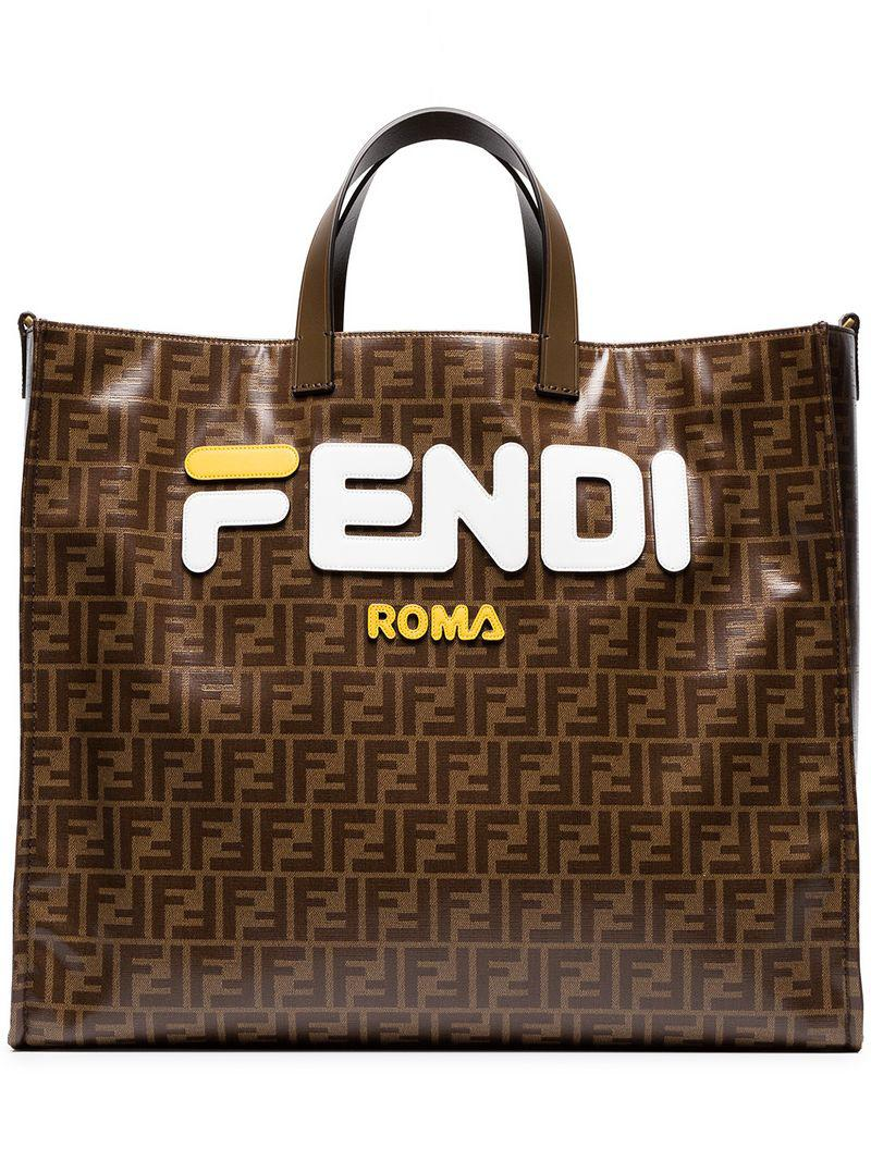 d5bd55f173aa Fendi - Mania Brown And White Large Logo Print Tote Bag - Lyst. View  fullscreen