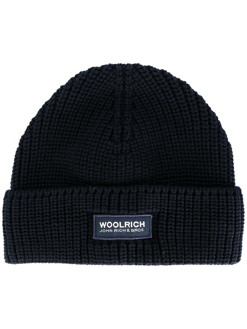 Lyst - Woolrich Classic Knitted Beanie Hat in Blue for Men ad014cfb277