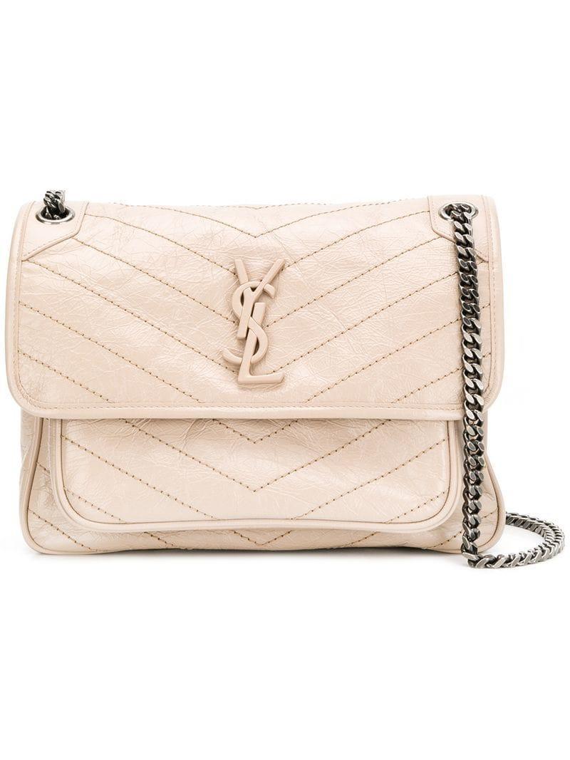 5b5690aba6df Saint Laurent Baby Niki Shoulder Bag in Natural - Lyst