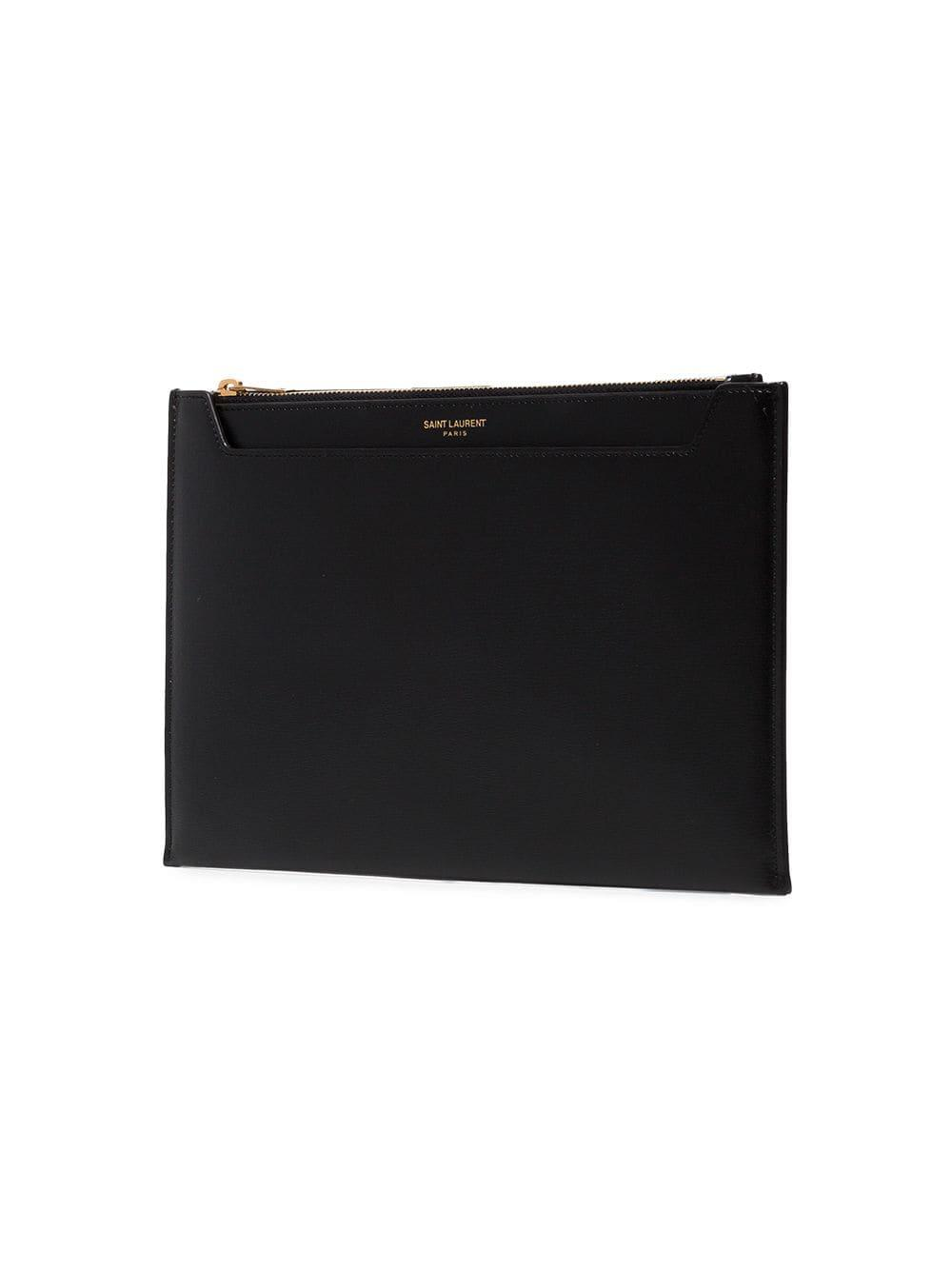 Saint Laurent Leather Logo Stamp Clutch in Black - Lyst 8fbcd14f40a73