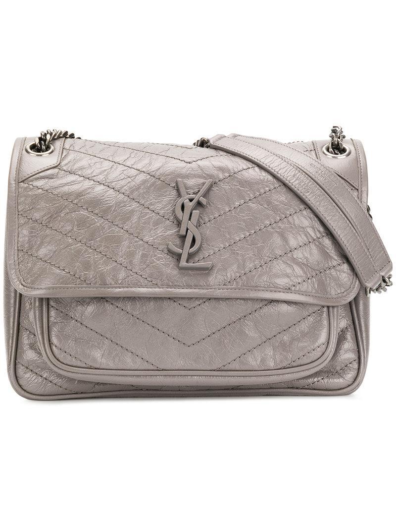 e144646de0ef Saint Laurent Niki Monogram Shoulder Bag in Gray - Lyst