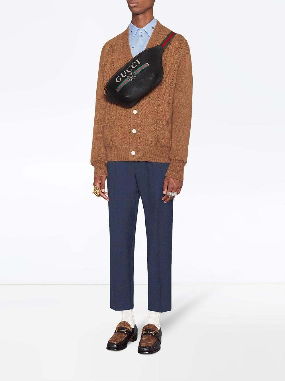 127043ffa64 Lyst - Gucci Black Print Leather Belt Bag in Black for Men
