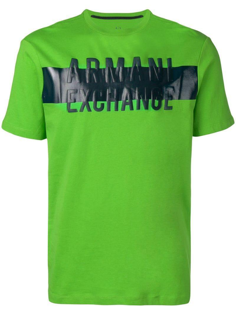 63f381af Lyst - Armani Exchange Logo Patch Stripe T-shirt in Green for Men