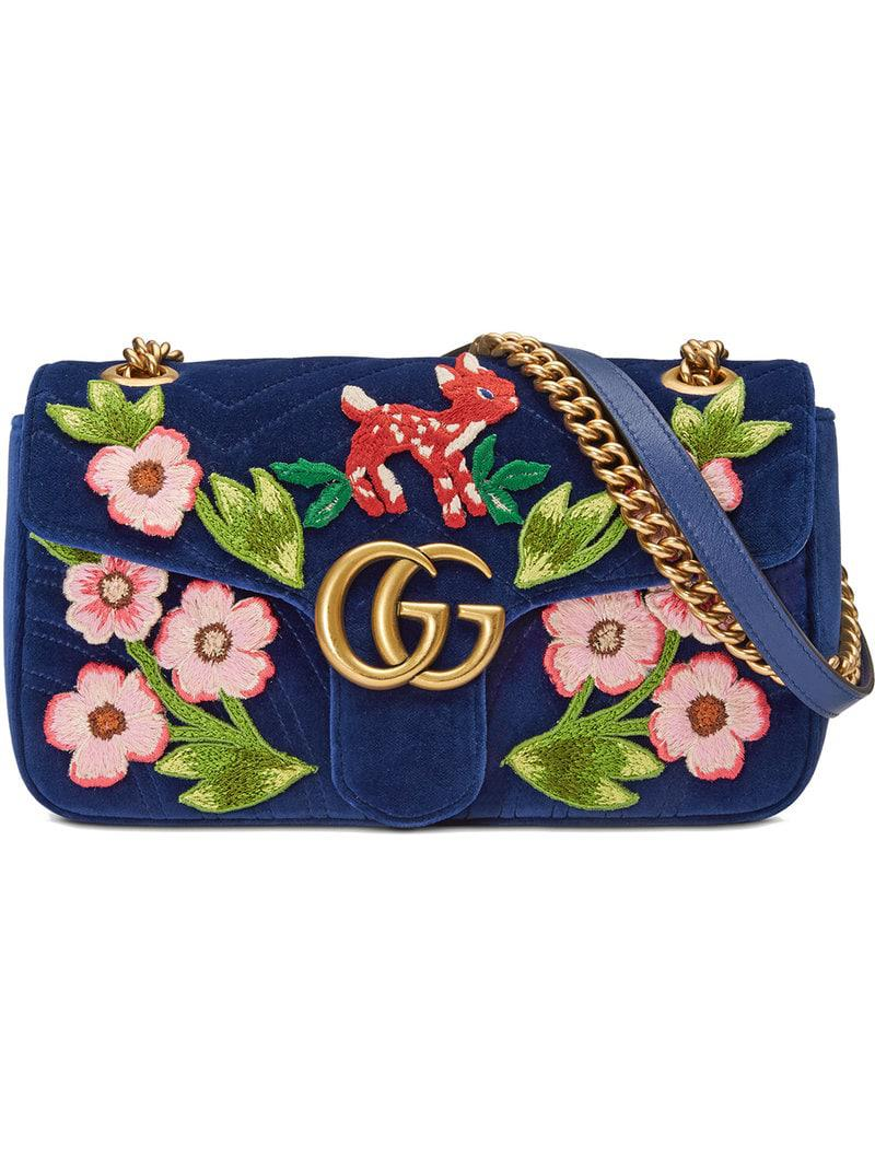 6103ff7022c Gucci GG Marmont Velvet Small Shoulder Bag in Blue - Save ...