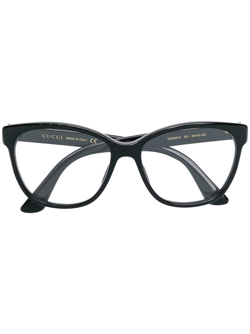 af8baff90be Gucci Square Cat-eye Glasses in Black - Lyst