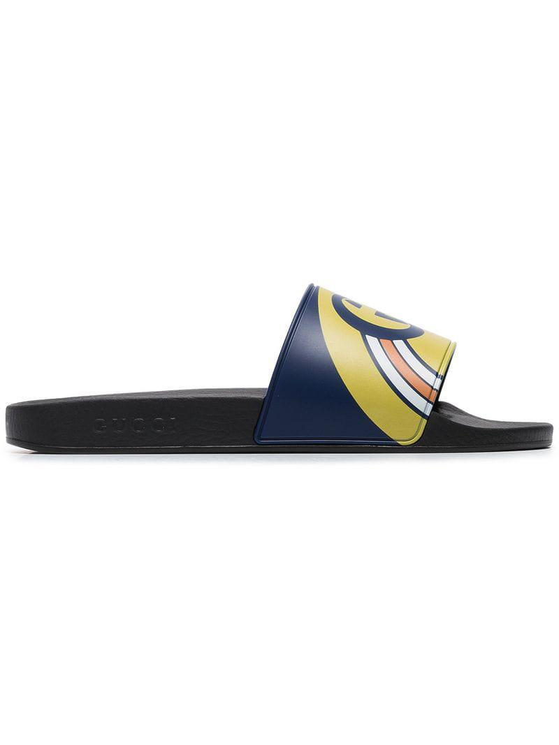 8e230f60edc5 Lyst - Gucci Navy Blue And Black Pursuit Logo Slides in Blue for Men