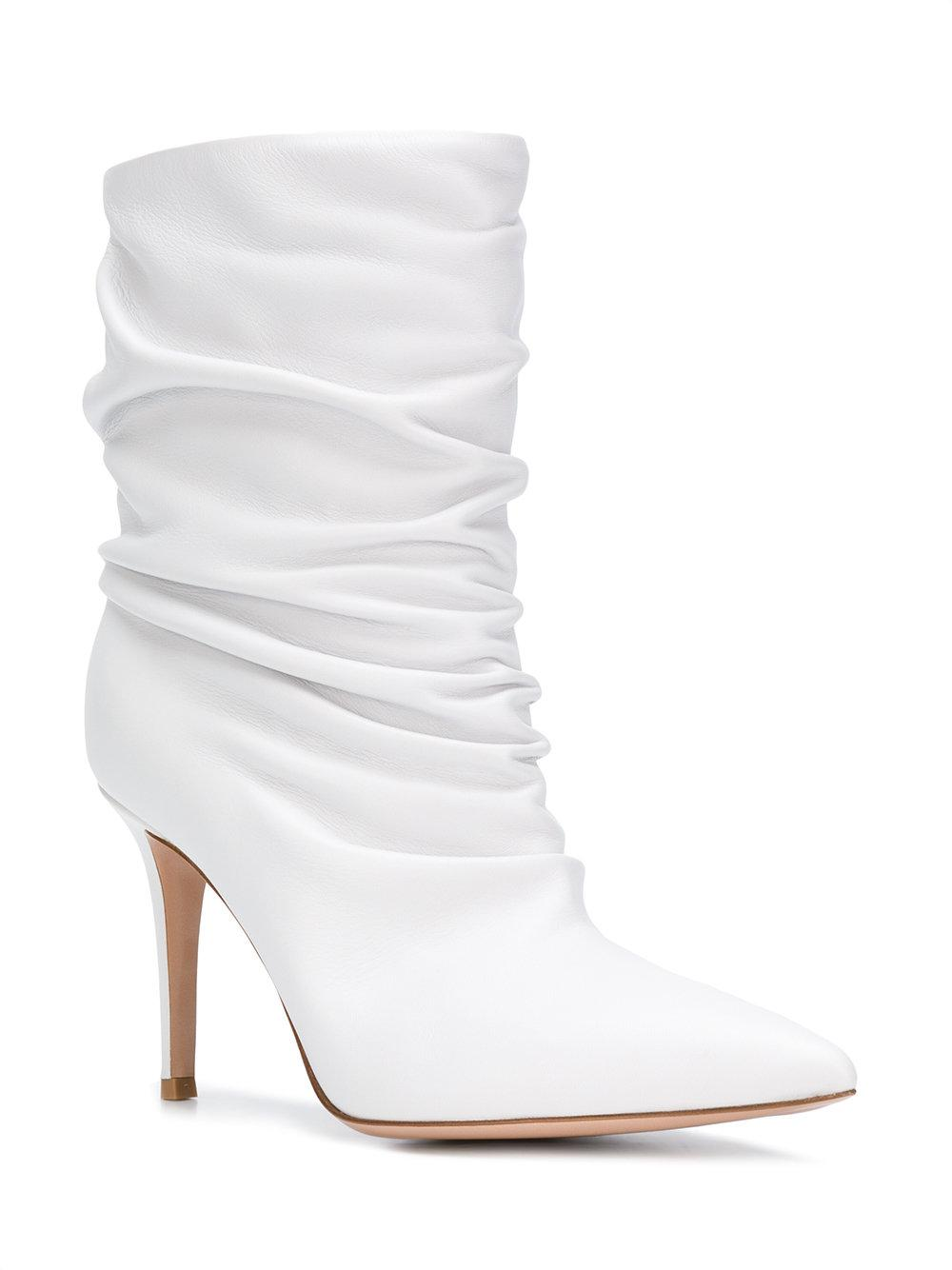 4a972fa7a6c0 Lyst - Gianvito Rossi Gathered Ankle Boots in White