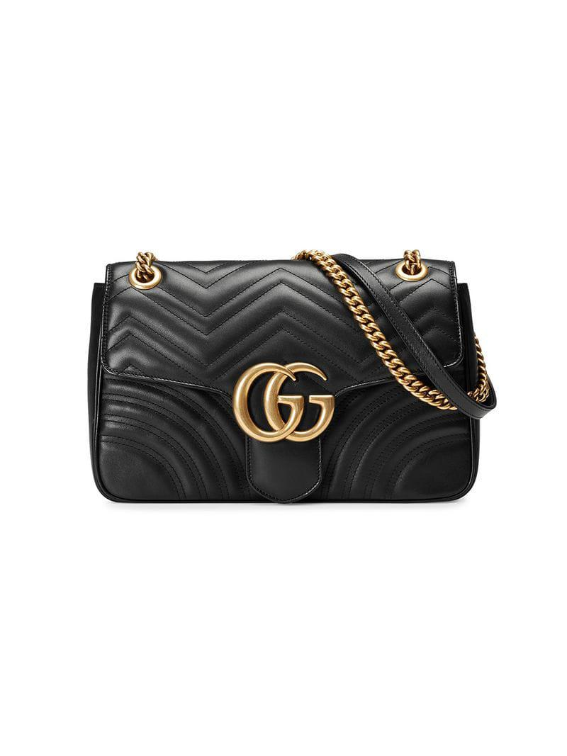 406cc6ac122 Gucci GG Marmont 2.0 Medium Quilted Shoulder Bag in Black - Save 65 ...