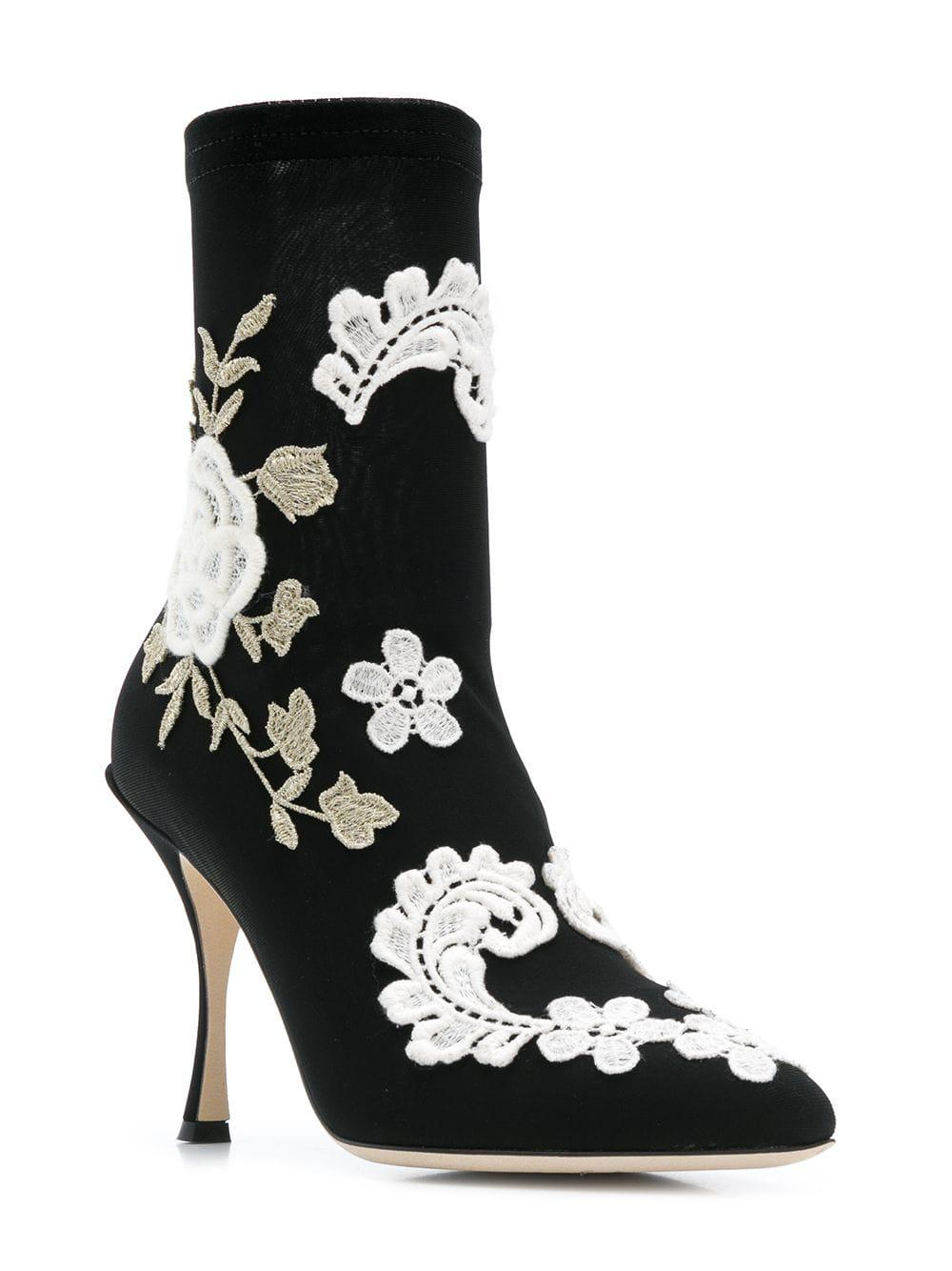 6974096b348 Lyst - Dolce   Gabbana Ankle Boot In Stretch Jersey With Macramé Embroidery  in Black - Save 70%