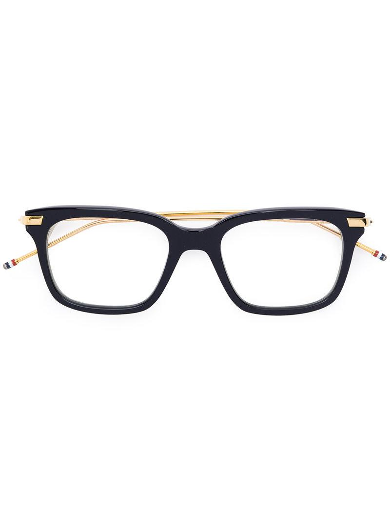 3acbc0022d46 Thom Browne Rectangle Frame Glasses in Black - Lyst