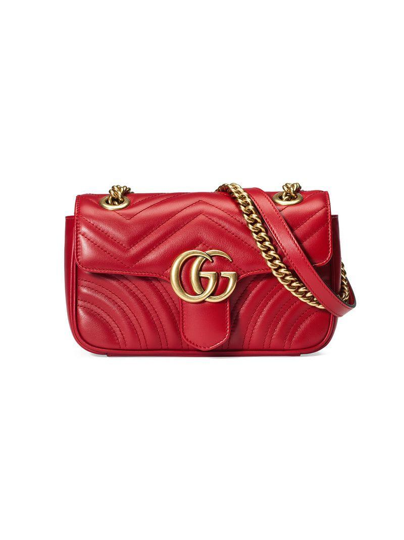 65a205ba954629 Gucci GG Marmont Matelassé Mini Bag in Red - Save 14% - Lyst