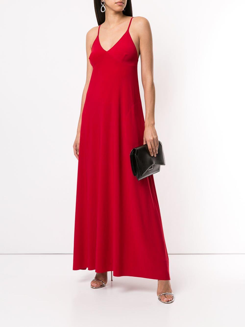 9e1937eeedd Lyst - Norma Kamali Long Slip Dress in Red