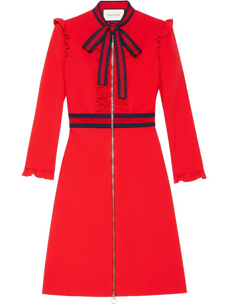 df0f68be45f Lyst - Robe évasée à détails Web Gucci en coloris Rouge - 7 % de ...