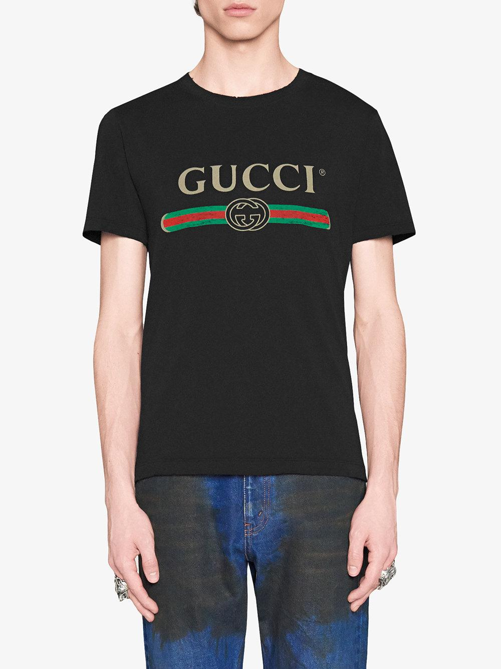 d4487b32b5182 Gucci - Black Oversize Washed T-shirt With Logo for Men - Lyst. View  fullscreen