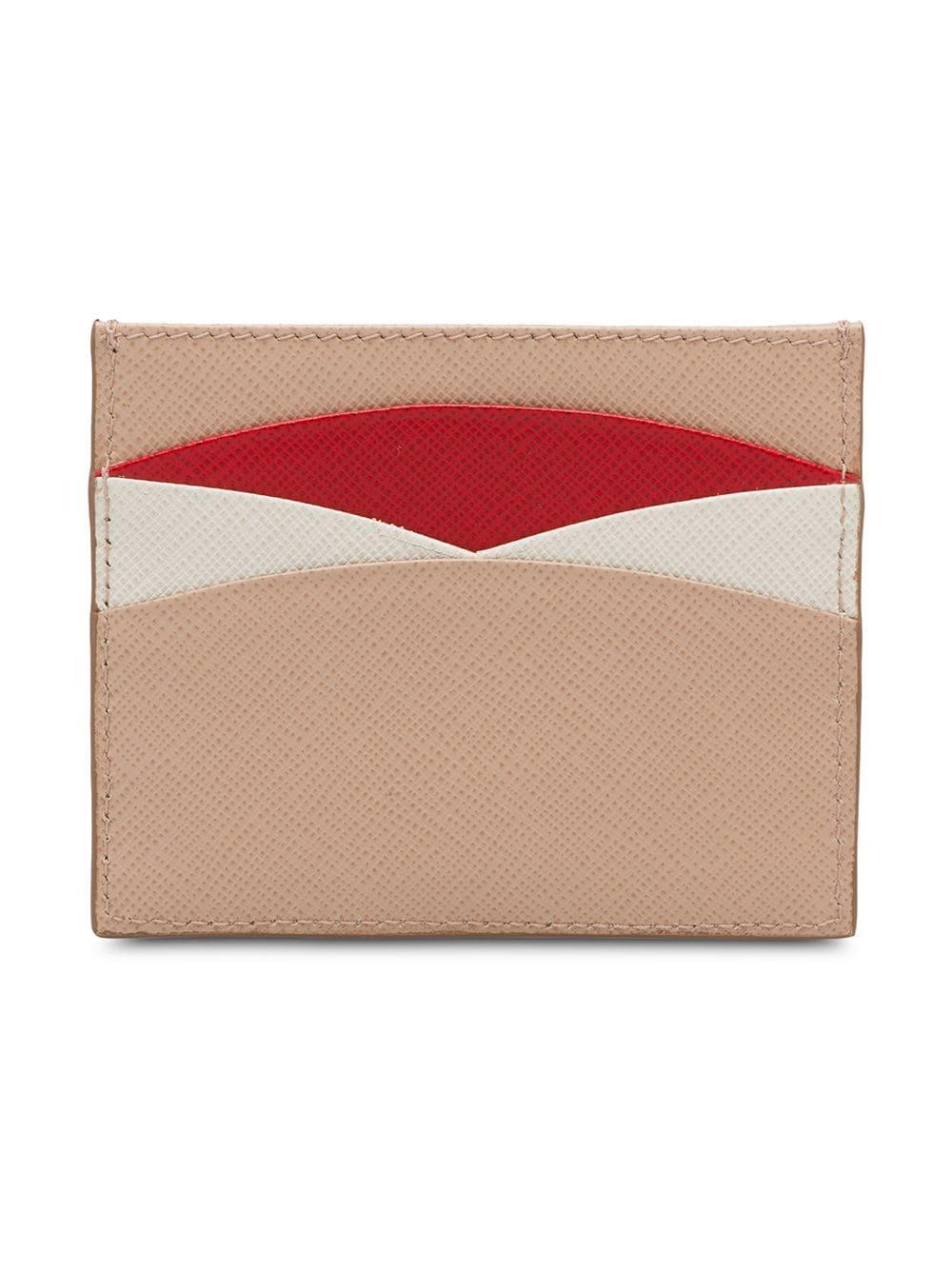 c6746af97102 Lyst - Prada Saffiano Leather Credit Card Holder in Pink
