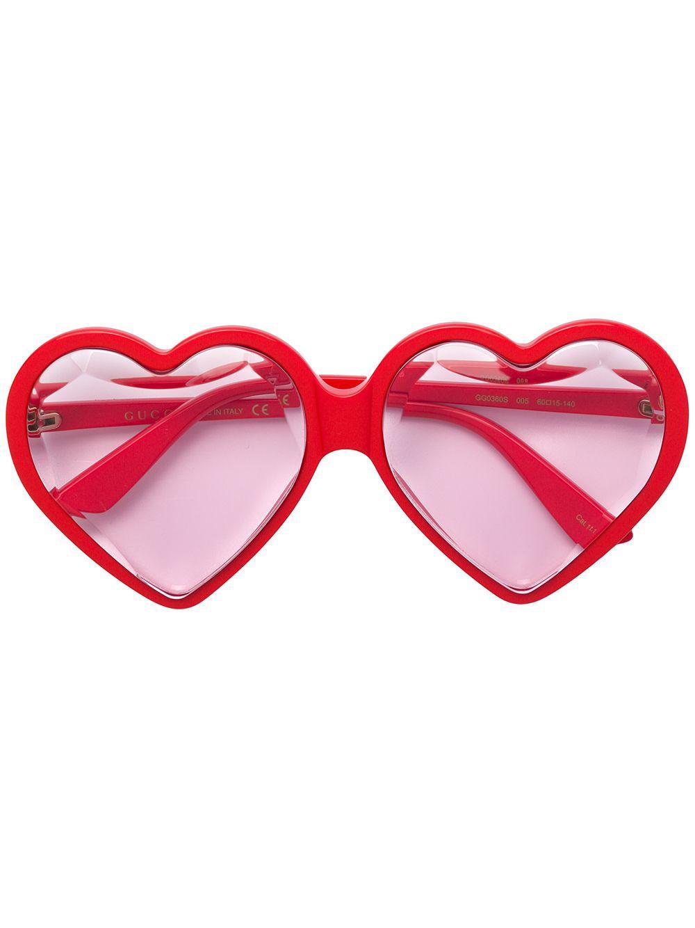 6724b9f136 Lyst - Gucci Love Heart Sunglasses in Red