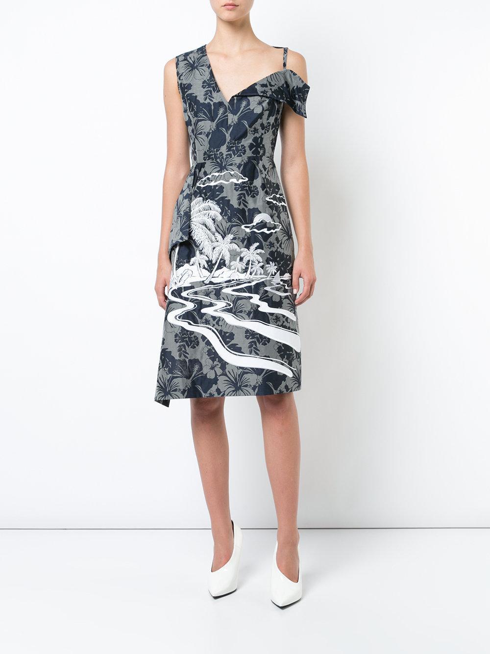 c74a09f9c Stella McCartney - Gray Vestido con motivo tropical - Lyst. Ver en pantalla  completa