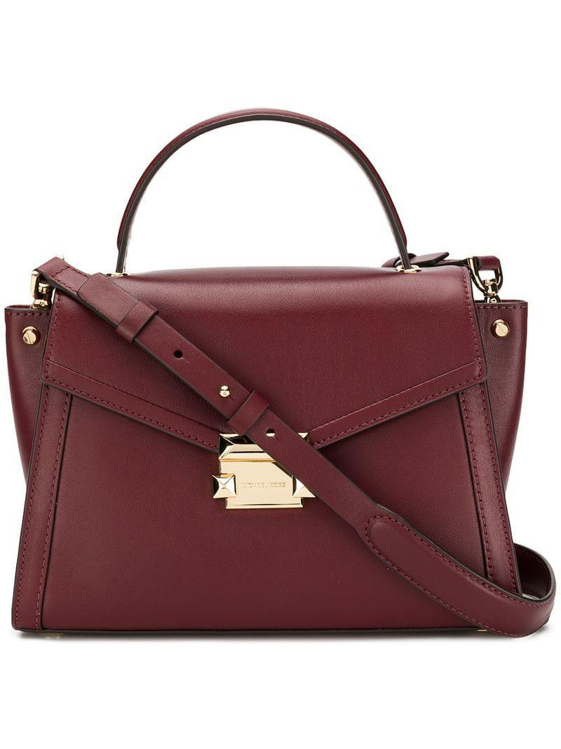 9d9a3ee071245d Lyst - MICHAEL Michael Kors Borsa Whitney In Pelle in Red - Save 11%