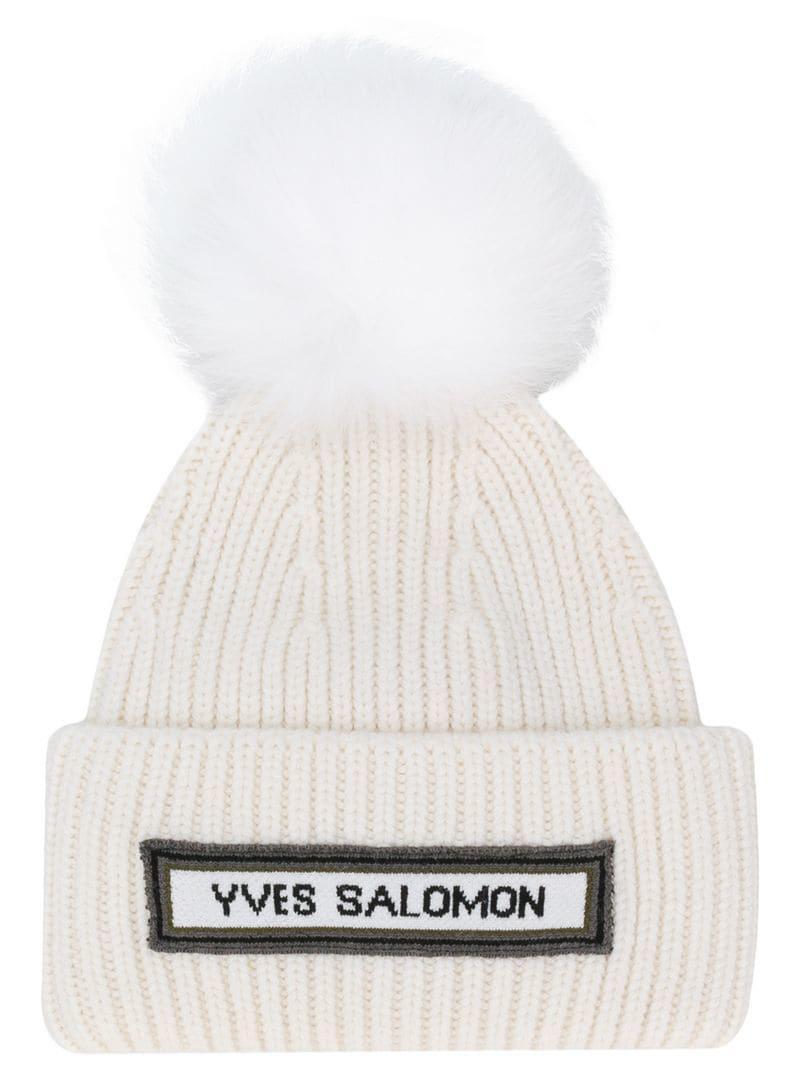 e8bf60d2e7c Yves Salomon - White Ribbed Pom Pom Beanie - Lyst. View fullscreen