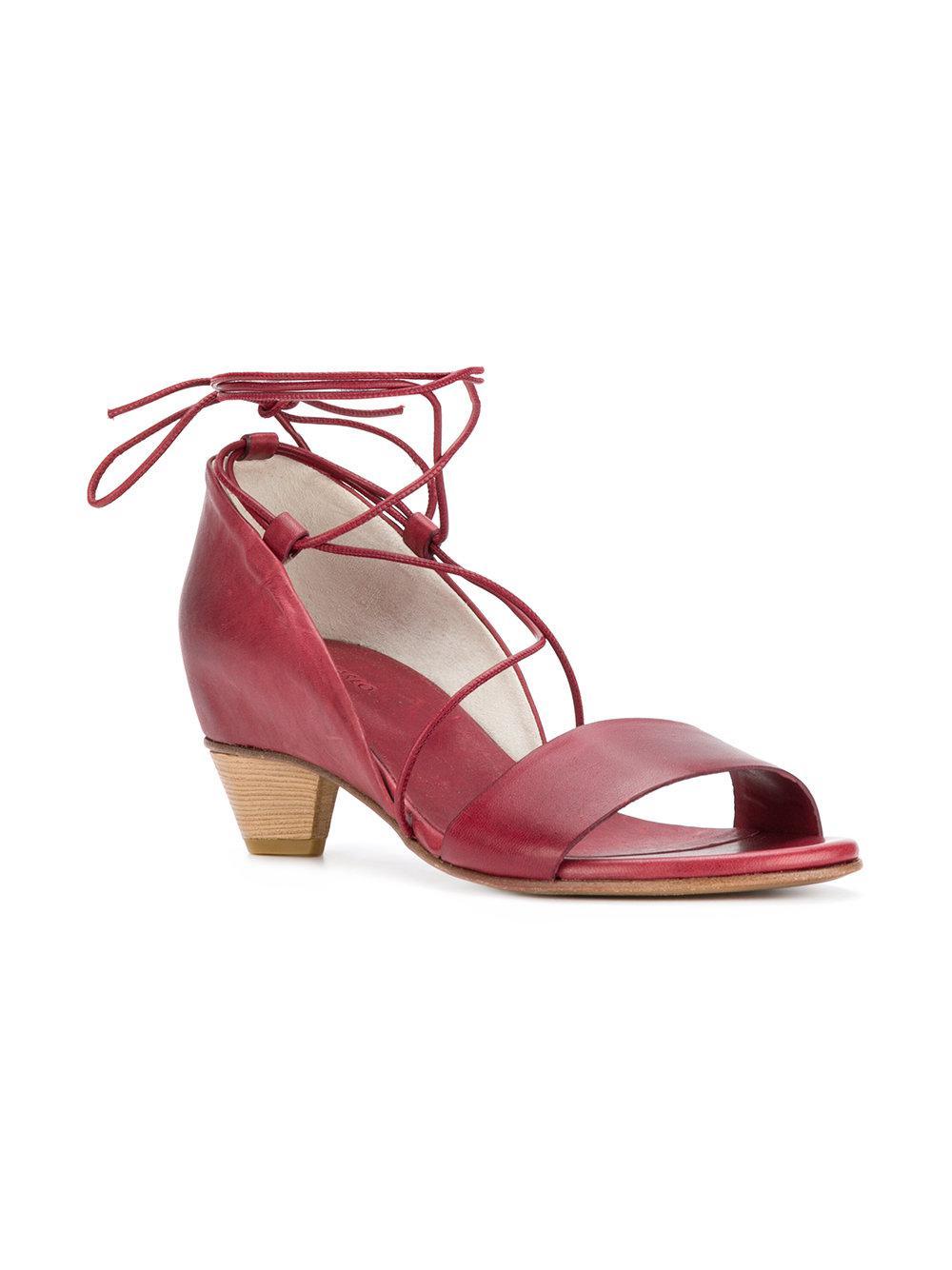 8e2b49da0216b2 Roberto Del Carlo - Red Ankle Tie Low Heel Sandals - Lyst. View fullscreen