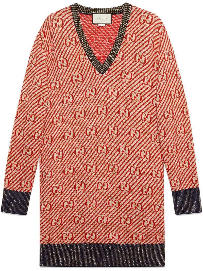 512460cb5 Lyst - Gucci Oversize GG Stripe Wool Sweater in Red
