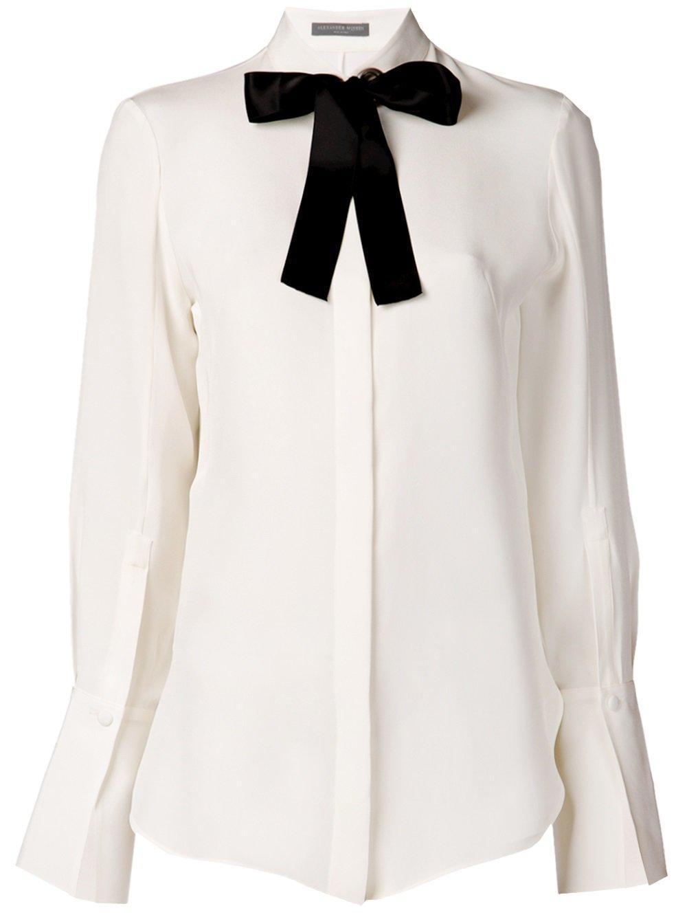 Lyst Alexander Mcqueen Pussy Bow Collar Shirt Women