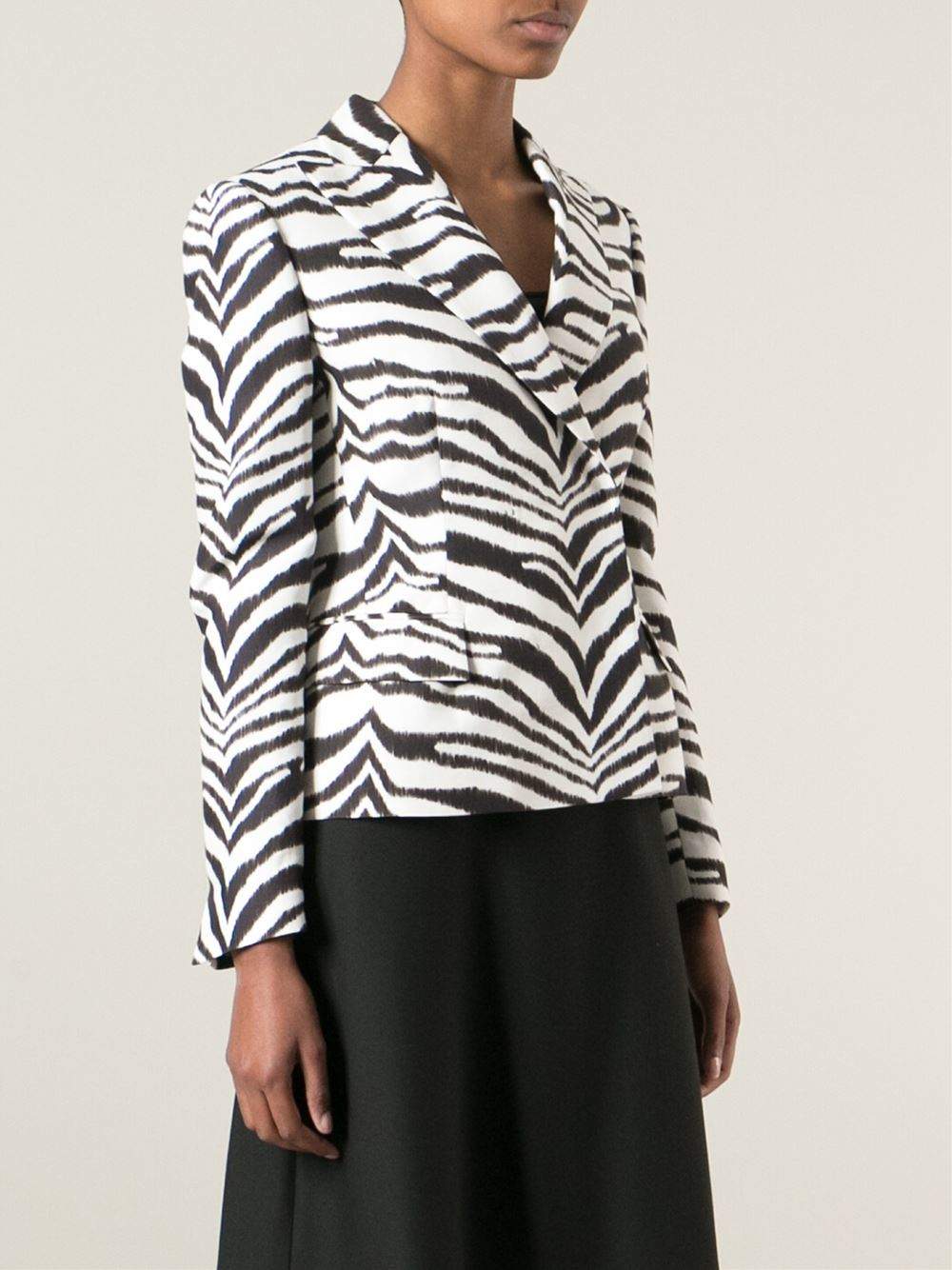Emanuel Ungaro Zebra Print Jacket Women Cotton Rayon