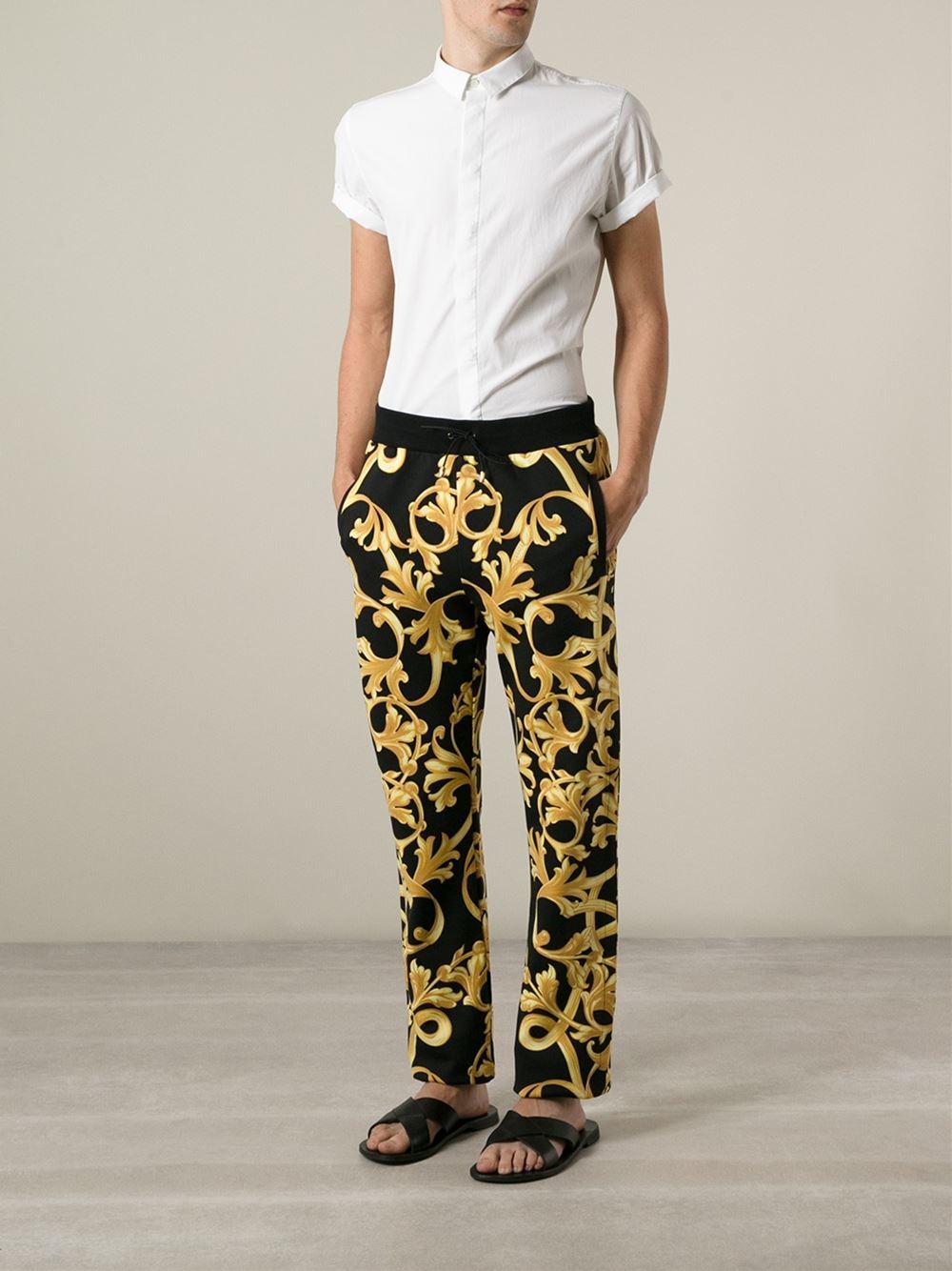 versace baroque print track pants in metallic for men lyst