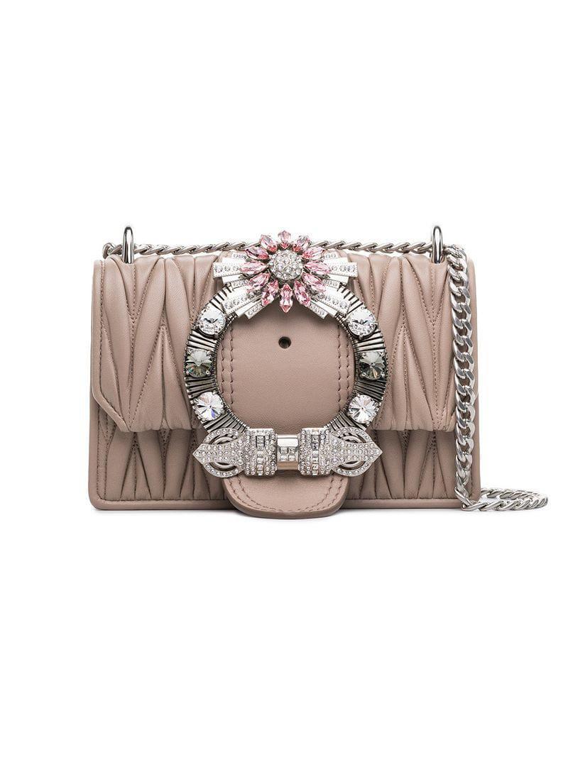 1d5a0f80fb2 Lyst - Miu Miu Embellished Matelassé Shoulder Bag in Pink - Save ...