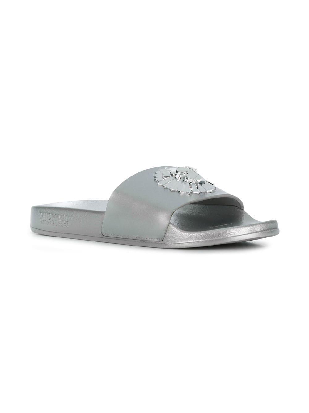 0354915607a1a MICHAEL Michael Kors Rory Metallic Slides in Metallic - Save 47% - Lyst
