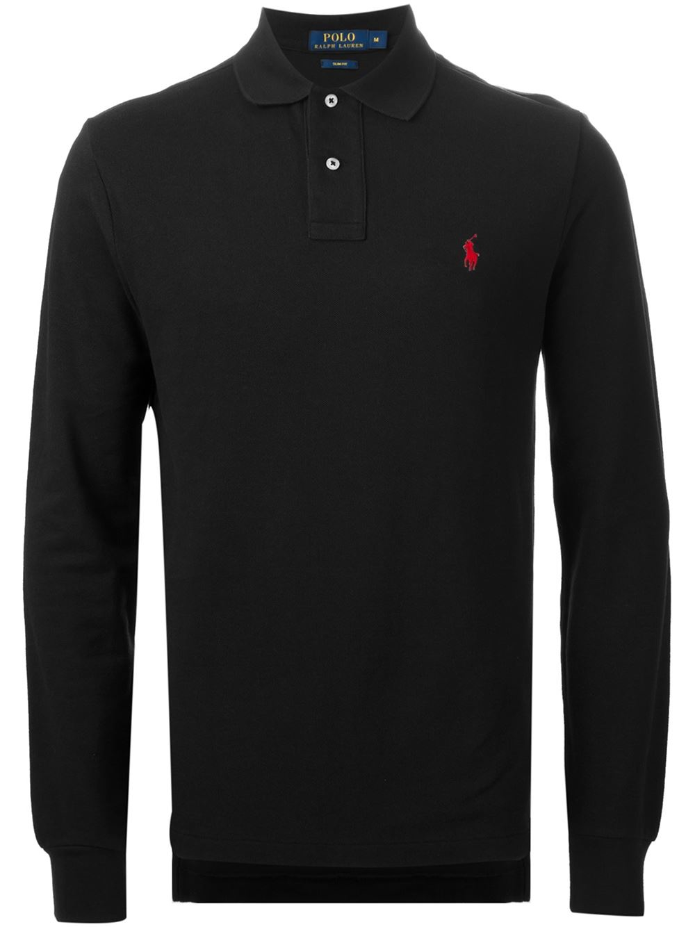 Polo ralph lauren slim fit polo shirt in black for men lyst for Black fitted polo shirt