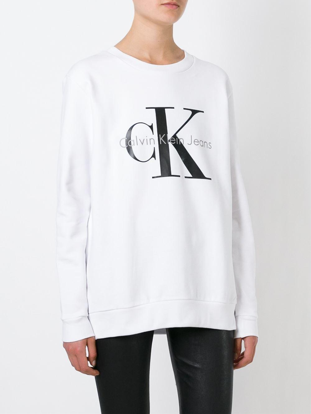 calvin klein jeans logo print sweatshirt in white lyst. Black Bedroom Furniture Sets. Home Design Ideas