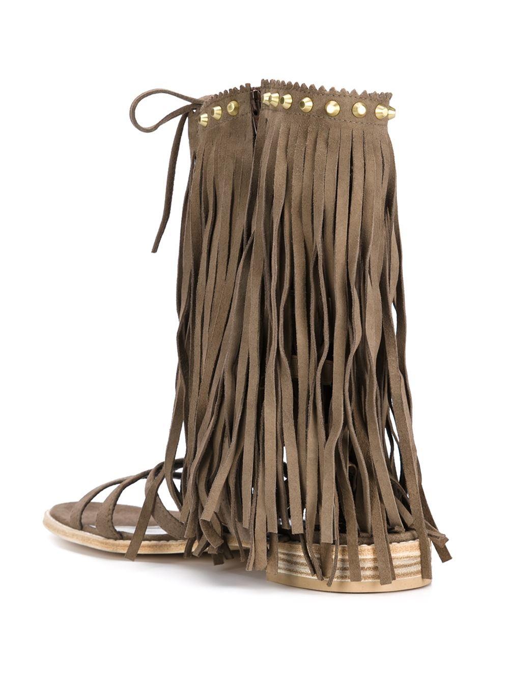 Lyst Stuart Weitzman Fringe Benefit Sandals In Brown